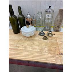 Lot - Milk Bottles,Beer Stein,Lamp Parts,Bottles etc.
