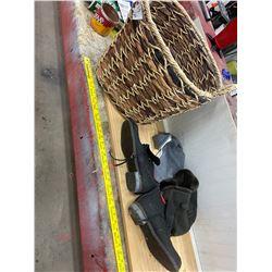 Wicker Basket - 2 Felt Hats - Felt Boots size 10-11