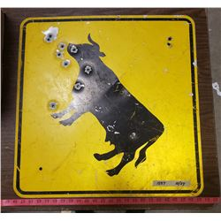 Vintage Cow Crossing Sign