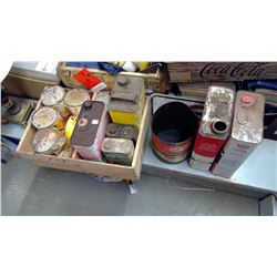 VARIOUS OIL CANS AND TINS