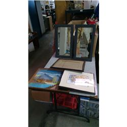 LOT OF MIRROR , FRAMED PICTURES AND FRAMES