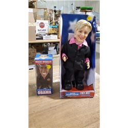 Never Used Boogie Diva Hilary Clinton & Bobble Head Obama
