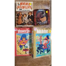4 Vintage Puzzles   Yosemite Sam(unknown complete), Rest Complete: Beverly Hillbillies, 2 Dudley Do