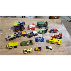 Mix of Vintage/Modern Diecast Trucks & Others   Tin Pull Back Tractor, 1988 Bug, 1977 Piranha Truck,