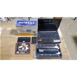 Assorted Computer Items Aspire Laptop(untested missing cord), Power Link Extender(New), IPOD(unteste