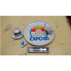 EXPO 86 COLLECTION PLATE MINI TEA POT SAUCER AND MORE