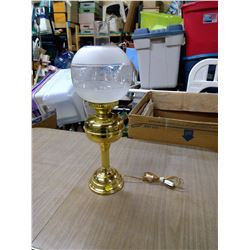 BRASS ELECTRIC LAMP GLOBE AND CHIMNEY
