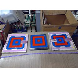 ASSORTED OF 24 1960'S DECORATIVE GLASS MIRROR TILES
