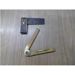 VERY OLD SMALL SQUARE AND FOLD-UP WOOD RULER