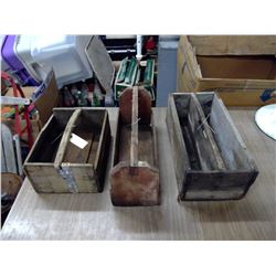 3 OLD WOODEN CUTTLRY OR TOOL BOXES