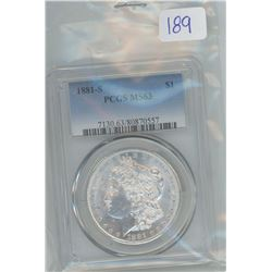 1881 S PCGS-MS-63 MORGAN SILVER DOLLAR