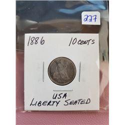 1886 USA LIBERTY SEATED 10 CENTS