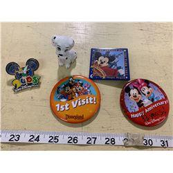Disney Buttons, Pin, and Disney (Japan) Dog Figurine