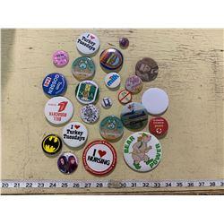 Vintage Pinback Buttons Including Louis Riel, Batman, Milk, etc.