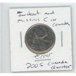 2005 Canada Quarter - Error Indent Missing