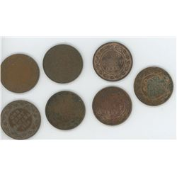 7 Canadian Large One Cent - 1881, 1908, 1907, 1917, 1918, 1919, 1920 (Poor Condition)