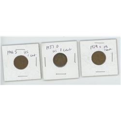 3 US One Cent - 1919S, 1937D, 1946S