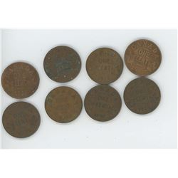 8 Canada One Cent - 1920, 26, 28, 28, 1931, 32, 33, 35 (Poor Condition)