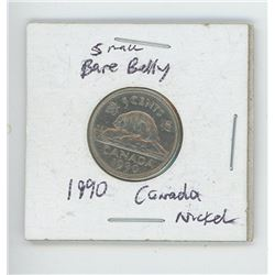 Canadian 1990 Small Bare Belly Nickel