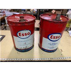 2 Esso Oil 5 Gallon Pails