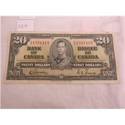 Canadian 1937 twenty dollar bill
