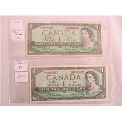 2 Low Numbered 1954 One Dollar Bills