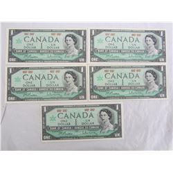 5 One Dollar bills 1867 -1967 Nice