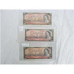 Three 1954 Two Dollar Bills