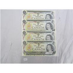 Four 1973 One Dollar Bills in sequence crisp