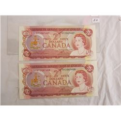 Two 2 Dollar bills 1974 in sequence