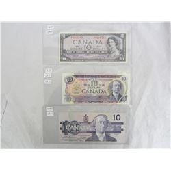 3 Different Ten Dollar Bills 1954,1971,1989