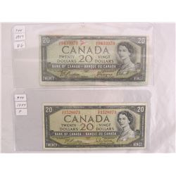 Two 1954 Twenty Dollar Bills different signatures