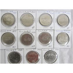 11 Canadian Nickel Dollars 1968 to 1983
