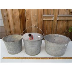 Lot of 3 Antique Buckets great for gardening