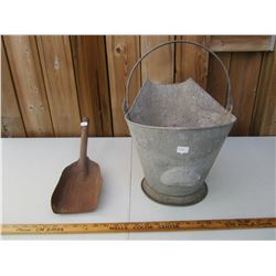 Antique Coal Bucket with Shovel
