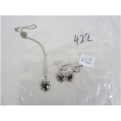 Italian Sterling Necklace and Ear Rings Black Alaska Diamonds