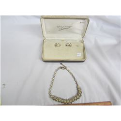 Sherman Rhinestone Necklace and Ear Rings  with Case