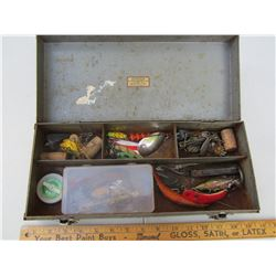 Antique tackle box with contents