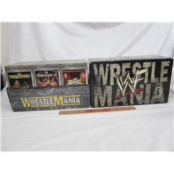 Vintage set of 15 VHS Wrestle Mania with box