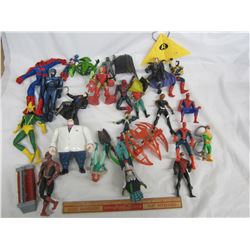 Lot of 21 Smaller Vintage Super Hero Figures with a few accessories