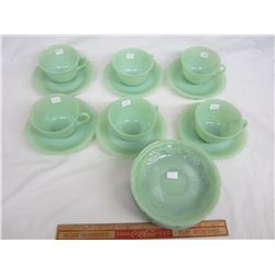Lot of Jadeite Fire King Alice 6 cups and saucers and 9 extra saucers no damage