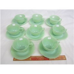 Lot of 8 Jadeite Fire King Jane Ray Cups and Saucers no damage