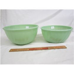 2 Fire King Mixing Bowls Jadeite no damage