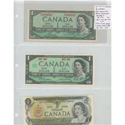 Lot of 3 Canadian $1 banknotes. 1954 Modified Portrait, Bouey-Rasminsky signatures, P/F prefix, BC-3