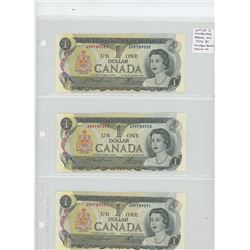 Lot of 3 Consecutive Serial Numbered 1973 $1 notes. Lawson-Bouey signatures. AM prefix. Serial Numbe