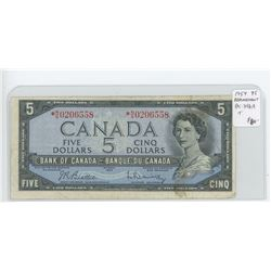 1954 $5 Modified Portrait Replacement note. Beattie-Rasminsky signatures. Serial Number *N/S0206558.