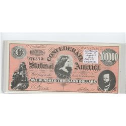 U.S. Confederate States of America 1864 $100,000 Facsimile. Richmond, Virginia. Unc.