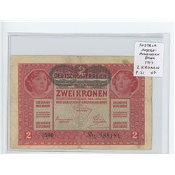 Austria. Austro-Hungarian Bank 1917 2 Kronen. World War I issue. Bilingual in German and Hungarian.