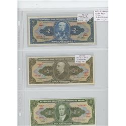 Lot of 3 different Brazilian notes from the 1950s: 2 cruzeiros, 5 cruzeiros, 10 cruzeiros. VF+ - Unc