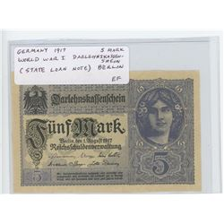 Germany – Empire. 1917 5 Mark. World War I Barlehnskassenshein (State Loan Note), Berlin. EF.